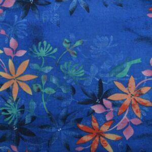 Flower Vintage Print Cotton Fabric - 1314-4 Blue 145cm