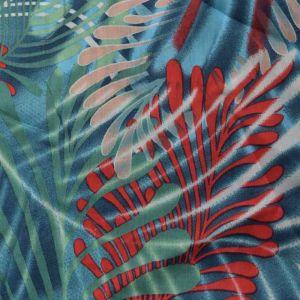 Jungle Print Viscose Poplin Fabric - A450-1 Red 140cm