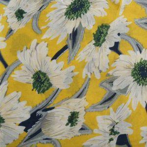 Daisy Print Viscose Poplin Fabric - A518-1 Yellow 140cm