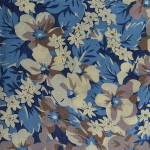 Garden Print Viscose Poplin Fabric - A517-2 Blue 140cm
