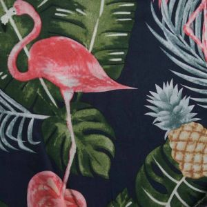 Flamingo Print Viscose Poplin Fabric - A409-2 Navy 140cm