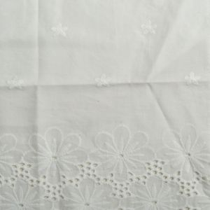 Large Floral Embroidered Cotton Voile Fabric - D3 Off White 130cm