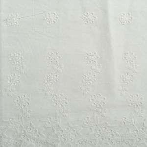 Small Floral Embroidered Cotton Voile Fabric - D4 Off White 130cm