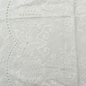 Garden Floral Embroidered Cotton Voile Fabric - D5 Off White 130cm