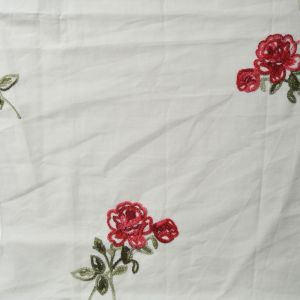 Posy Embroidered Cotton Voile Fabric - D6 Off White 130cm