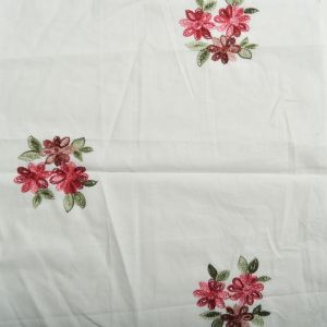 Daisy Embroidered Cotton Voile Fabric - D7 Off White 130cm