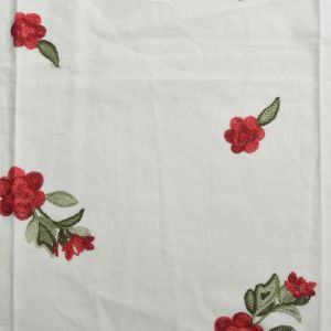 Floral Embroidered Cotton Voile Fabric - D8 Off White 130cm