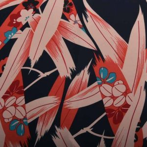 Bamboo Print Polyester Fabric 91167-2 Navy Coral 145cm