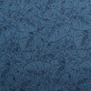 Palm Leaf Print Denim Fabric - G-11-2 Mid Blue 145cm