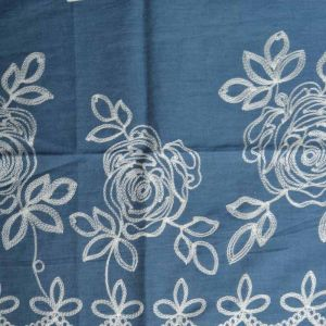 Roses Embroidered Chambray Denim Fabric - Light Blue 130cm