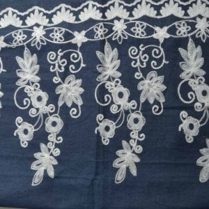 Floral Embroidered Chambray Denim Fabric - Dark Blue 130cm