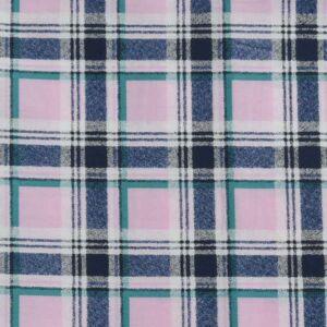Check Print Cotton Lawn Fabric  6 Pink Navy 150cm