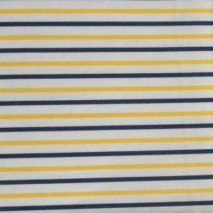 Stripe Print Cotton Lawn Fabric  7 Yellow Navy 150cm