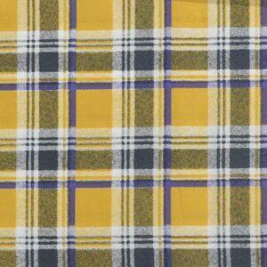 Check Print Cotton Lawn Fabric  8 Yellow Purple 150cm