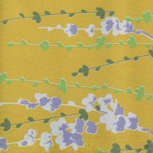 Floral Stem Print Cotton Lawn Fabric  11 Mustard 150cm