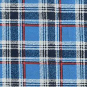 Check Print Cotton Lawn Fabric  13 Blue Red 150cm