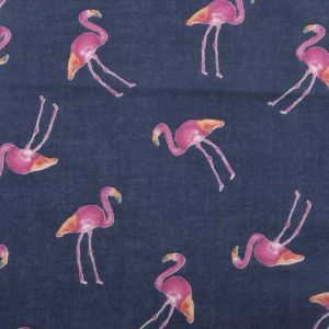 Flamingo Print Cotton Lawn Fabric  15 Navy Magenta 150cm
