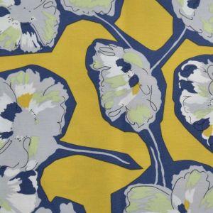 Peony Print Cotton Lawn Fabric  16 Mustard Navy 150cm