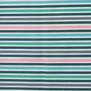 Stripe Print Cotton Lawn Fabric  20 Green Mix 150cm