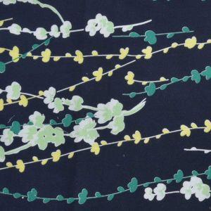 Floral Stem Print Cotton Lawn Fabric  23 Navy 150cm