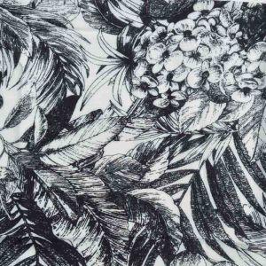 Tropical Print Javanaise Viscose Fabric  3 Black White 150cm