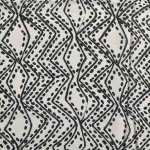 Maze Print Javanaise Viscose Fabric  4 Beige Black 150cm