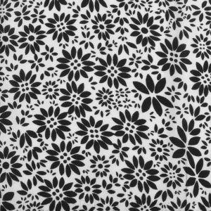 Flower Stamp Print Javanaise Viscose Fabric  10 White Black 150cm