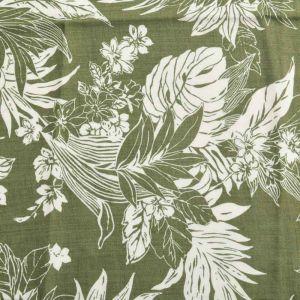 Hawaiian Print Javanaise Viscose Fabric  40 Khaki 150cm