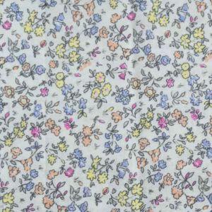 Floral Print Cotton Fabric  8 Palest Blue 150cm