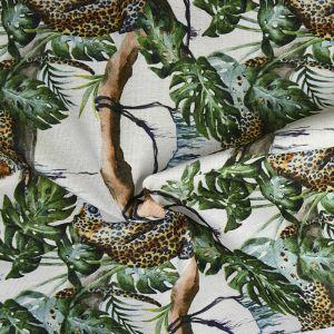 Safari Print Cotton Canvas Fabric BB012 Cream 145cm - £2.95 per metre