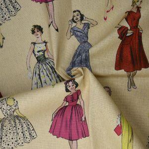 1950s Ladies Print Cotton Canvas Fabric BB20 Multi 145cm - £2.95 per metre