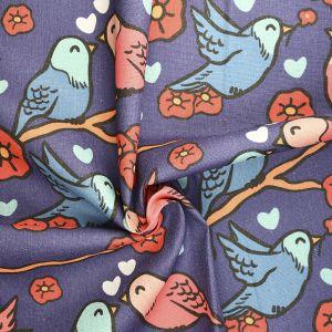 Lovebirds Print Cotton Canvas Fabric QYBB1-009 Multi 145cm - £2.95 per metre