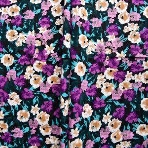 Blooms Print Viscose Poplin Fabric A640-3 Purple 145cm - £2.25 per metre
