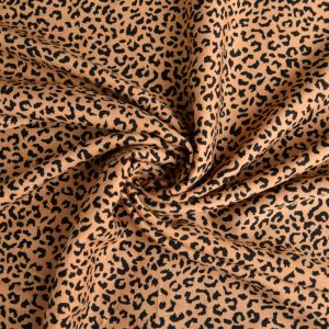Leopard Print Viscose Poplin Fabric A603-1 Tan 145cm - £2.25 per metre