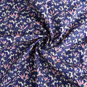 Tudor Floral Print Cotton Poplin Fabric 8086-2 Blue 145cm - £2.50 per metre