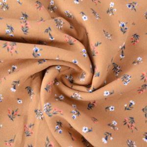 Mini Floral Print Viscose Twill Fabric F28-2 Tan 145cm - £2.99 per metre
