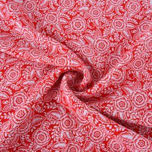 Tudor Rose Print Viscose Poplin Fabric A661-3 Red 145cm - £2.25 per metre