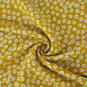 Floral Trail Print Viscose Twill Fabric F56-3 Mustard 145cm - £2.99 per metre